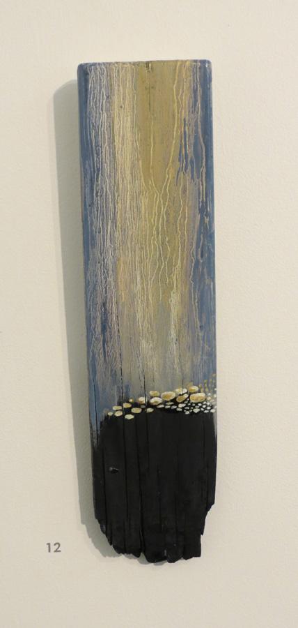 12. 'Waiting 3', Caroline Lyttle, oils on recycled wood, $140
