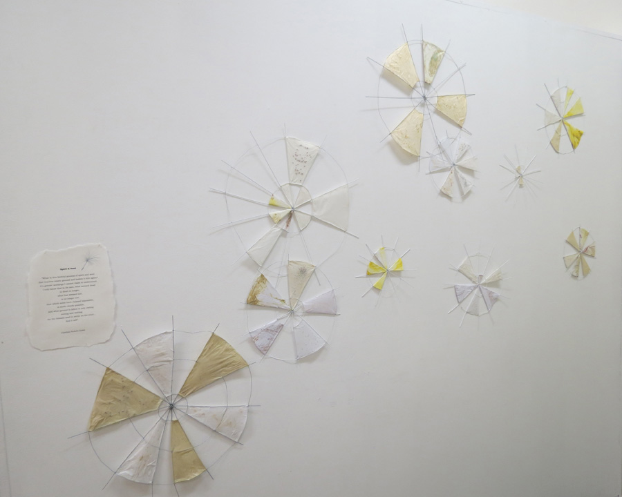 15. 'The Giving Seeds', Caroline Lyttle, wire, tissue, paper, print, seeds, $300 set or sml $20, med $30, lrg $40