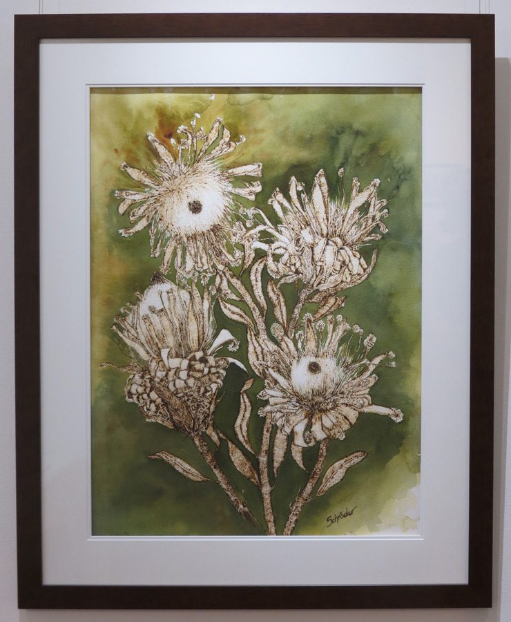 1. 'Protea's', Sandie Schroder, burnt paper and watercolour, $1,250