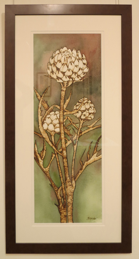 6. 'Artichoke Heads', Sandie Schroder, burnt paper and watercolour, $750