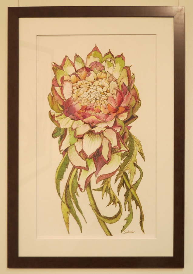 7. 'Artichoke Flower', Sandie Schroder, burnt paper and watercolour, $1,250