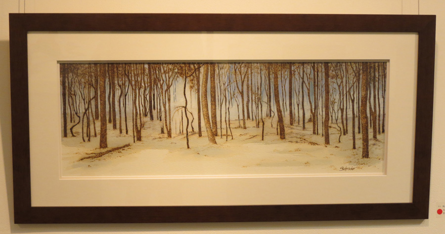 11. 'Blue Haze', Sandie Schroder, burnt paper and watercolour, $750