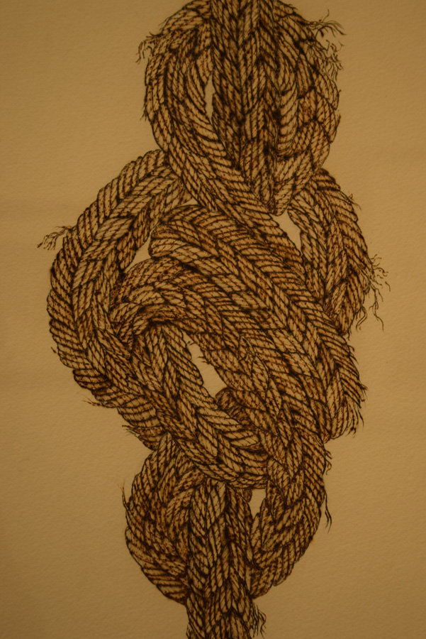 13. 'In Knots' (detail), Sandie Schroder, burnt paper, $650