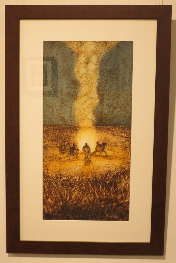 16. 'Reminiscing', Sandie Schroder, burnt paper and watercolour, $550