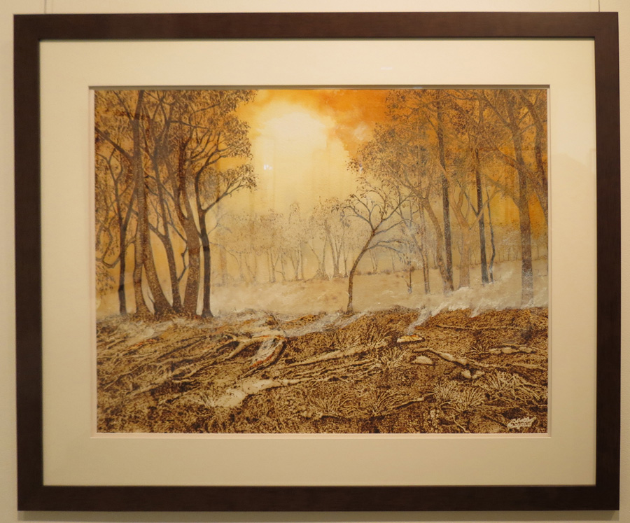 19. 'Bushfire Smoke', Sandie Schroder, burnt paper and watercolour, $1,550