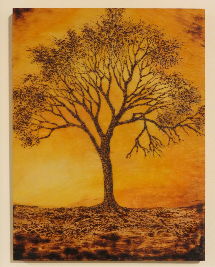 21. 'Standing Tall', Sandie Schroder, burnt Birchwood and watercolour, $325