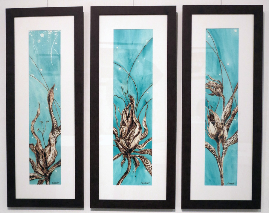 26. 'Floral Ignition IV', Sandie Schroder, burnt paper and watercolour, $495  27. 'Floral Ignition V', Sandie Schroder, burnt paper and watercolour, $495  28. 'Floral Ignition VI', Sandie Schroder, burnt paper and watercolour, $495