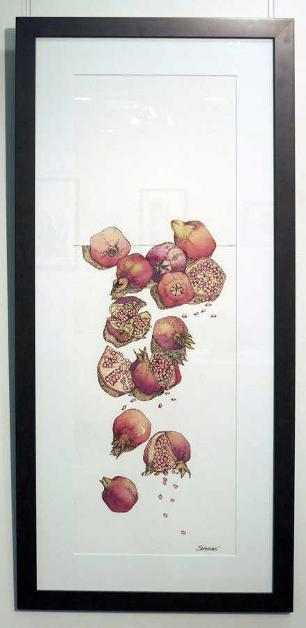 32. 'Falling Pomegranates', Sandie Schroder, burnt paper and watercolour, $1,250