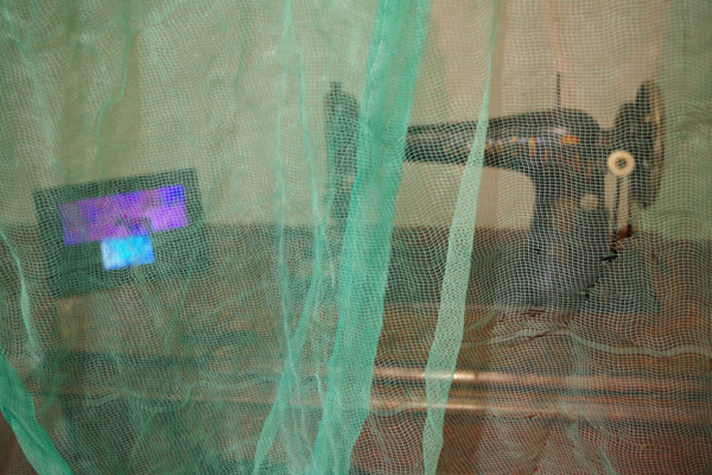 1. 'Dreaming Backwards', Nalda Searles, 1922 Singer Sewing Machine, box netting 1972, photographic monitor and images 1972-1985, NFS