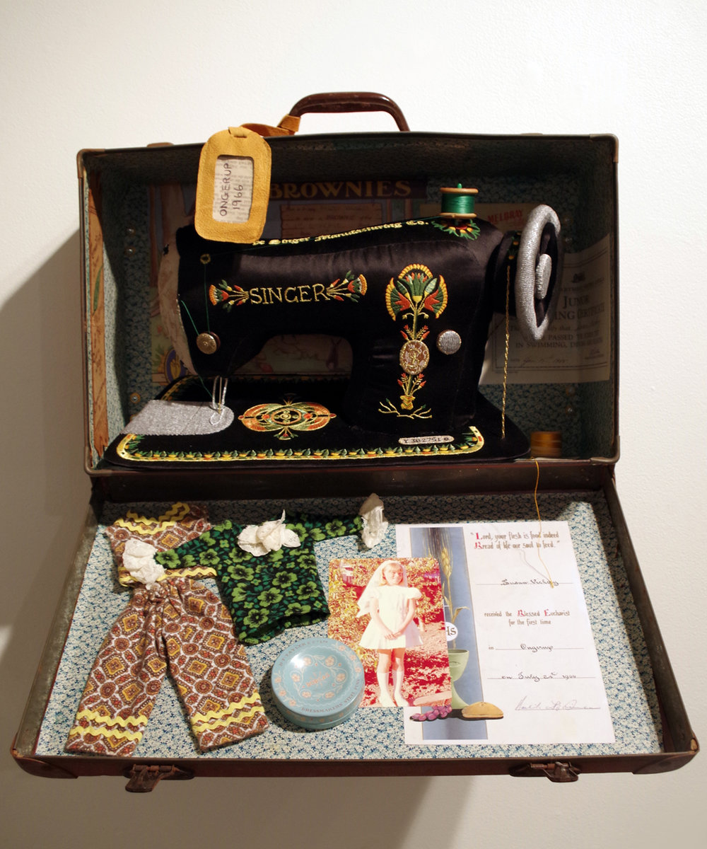 5. 'Ongerup - 1966', Susie Vickery, embroidery, applique, found objects, $2,700