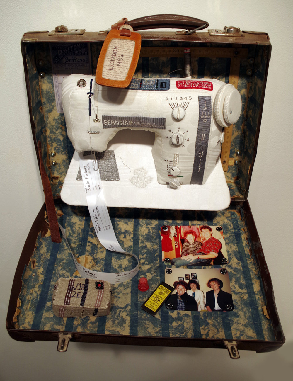 7. 'London - 1985', Susie Vickery, embroidery, applique, found objects, $1,400