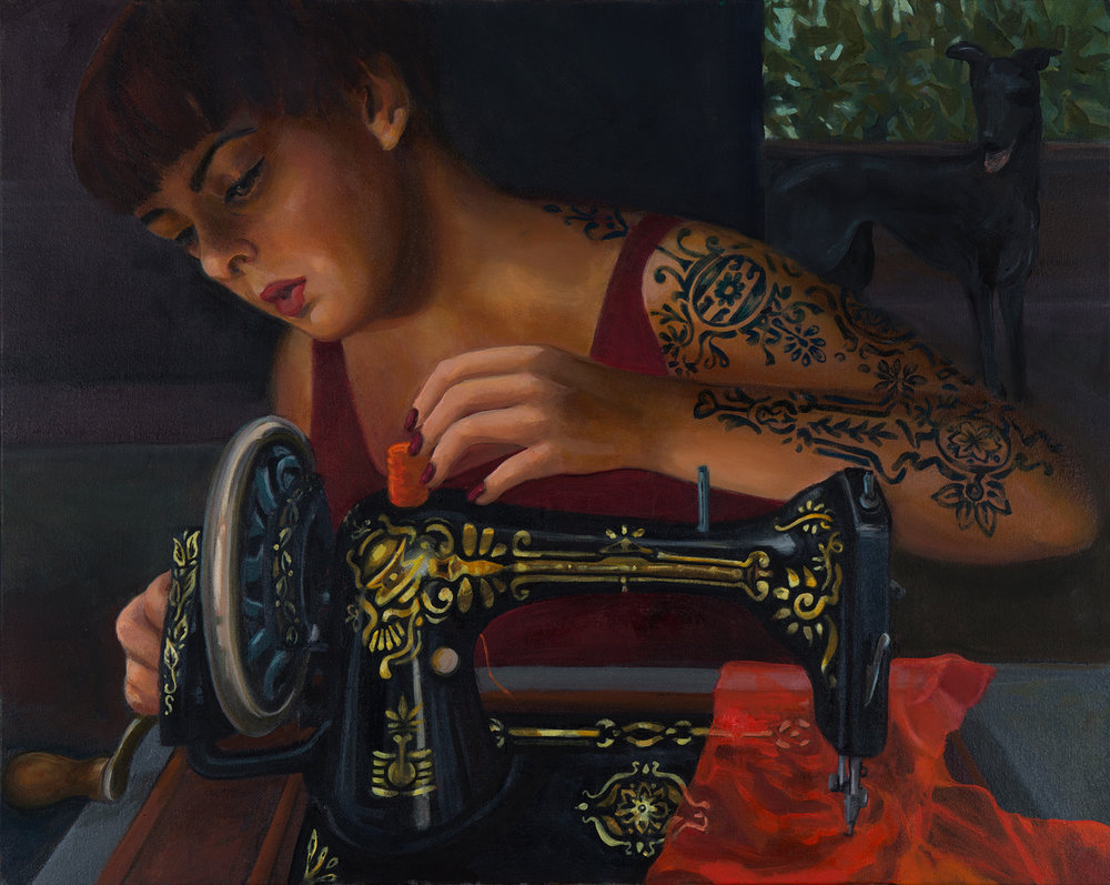 16. 'Decorating With Needles', Judith Forrest, oil on canvas, $2,500