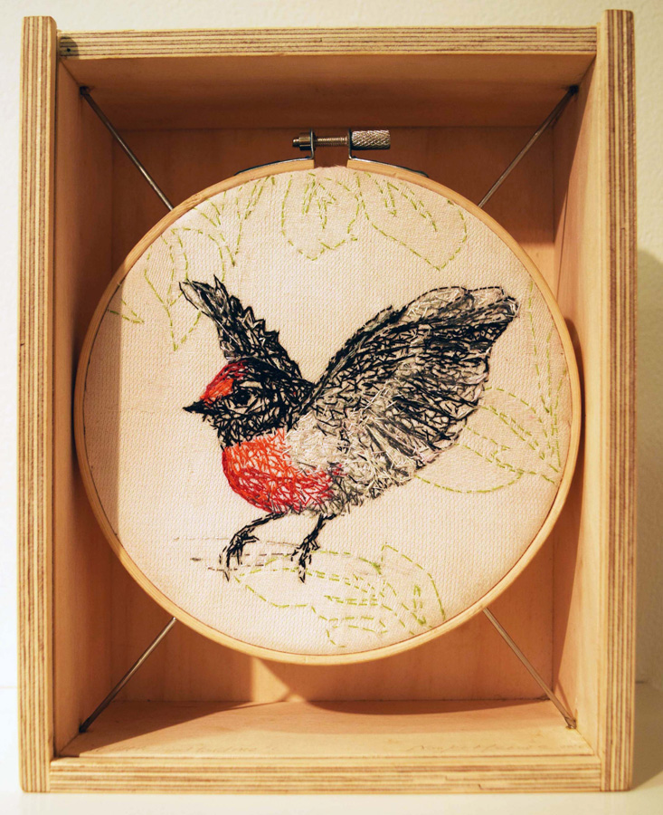 14. Linda van der Merwe, 'A Little Bird Told Me', silk embroidery thread, damask tablecloth, material hand-dyed with Mallee leaves