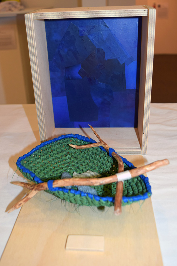 16. Mikaela Castledine, 'Pea Green Boat', crocheted nylon and cotton, paper collage, found objects