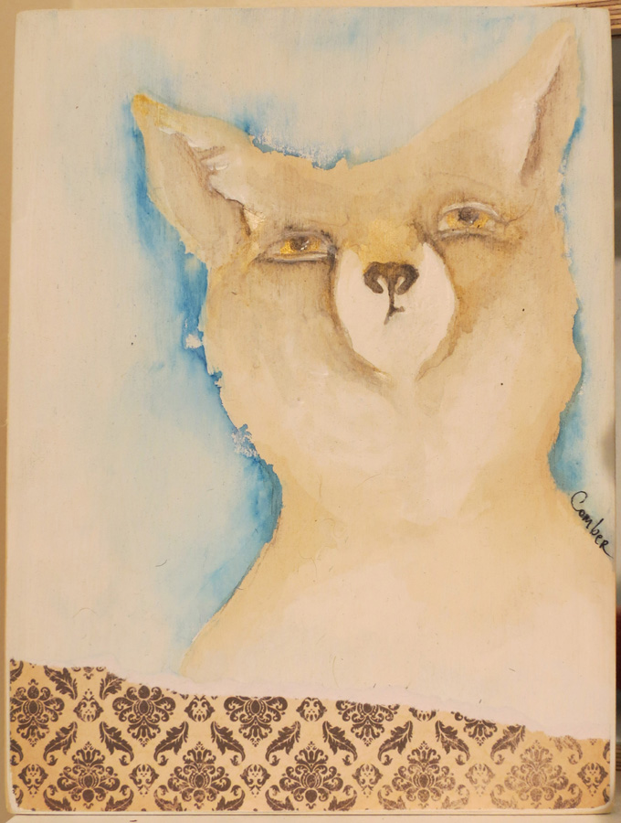 24. Kelly Comber, 'Tatty Fox', charcoal and ink wash drawing