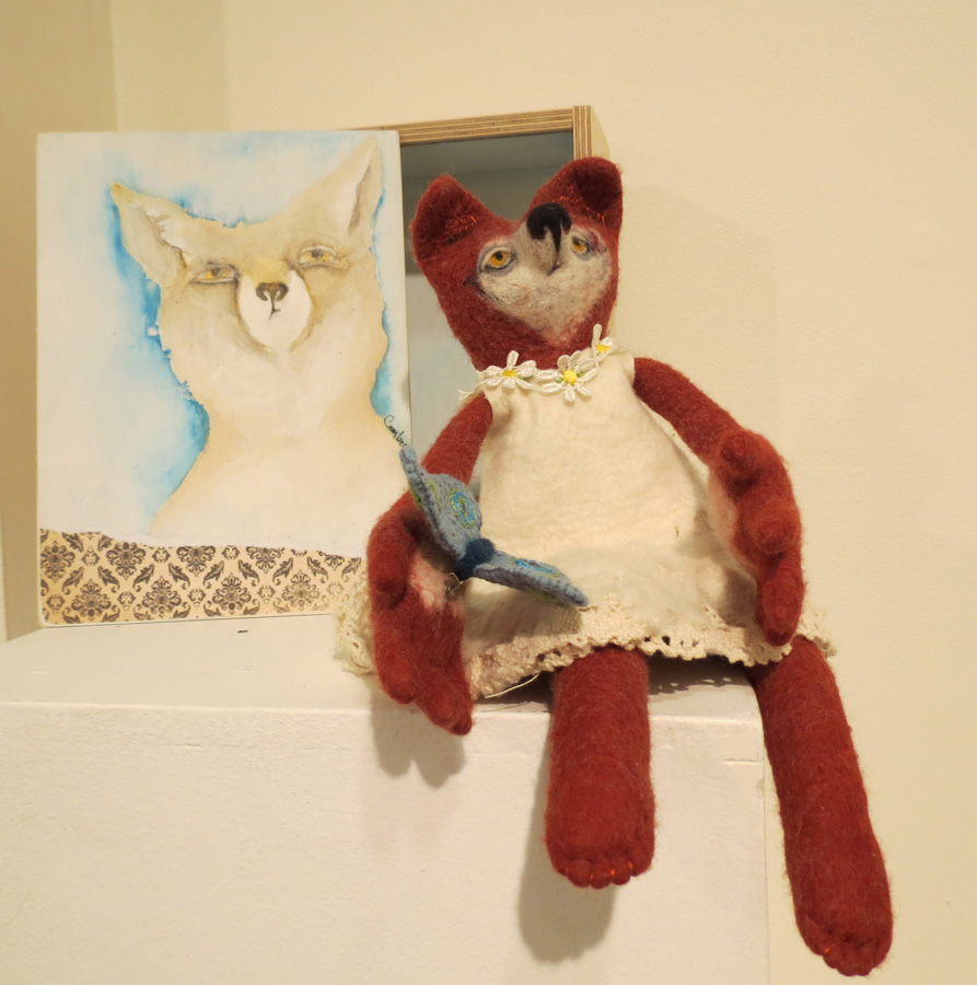 24. Kelly Comber, 'Tatty Fox', felted Merino wool, cotton thread, collage, charcoal and ink wash drawing