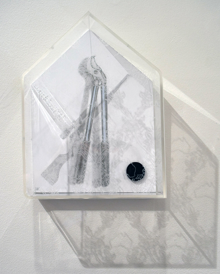 33. Karin Wallace, 'Outside Work', paint, silver point, plastic button, acrylic, riso print
