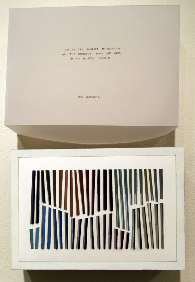 43. Sarah Thornton-Smith, 'Burn Black Indigo', gouache on paper, haiku