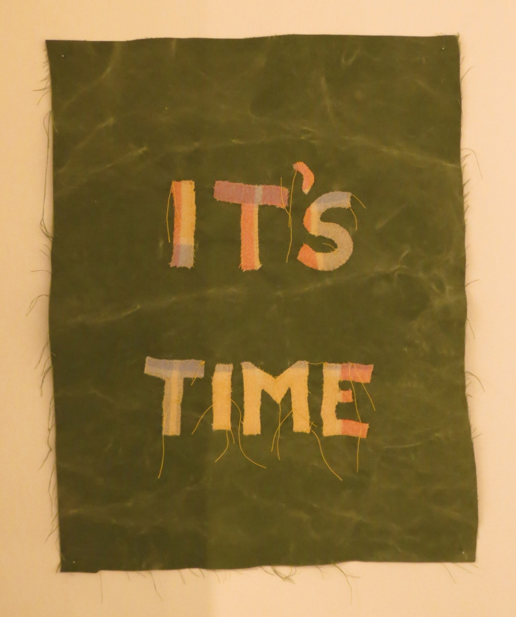 44. Olga Cironis, 'It's Time', hand-dyed cotton canvas, recycled blanket, hand-stitched