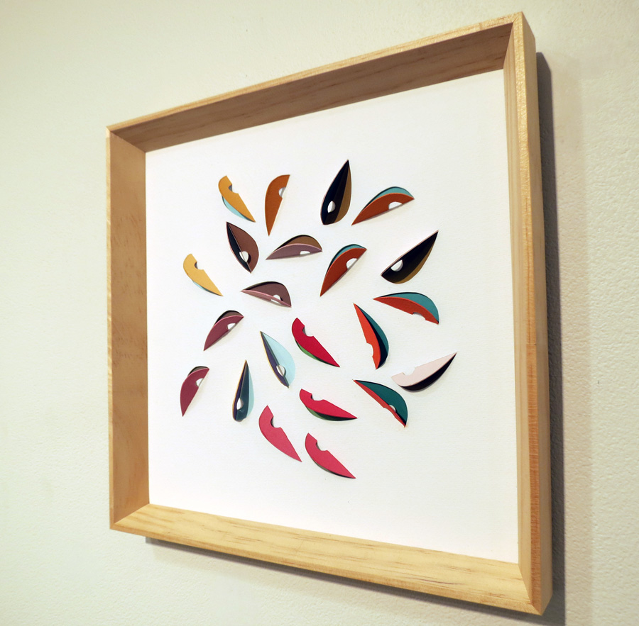 17. 'Leaf Impression 1', Sarah Thornton-Smith, gouache on cutouts, framed, $350
