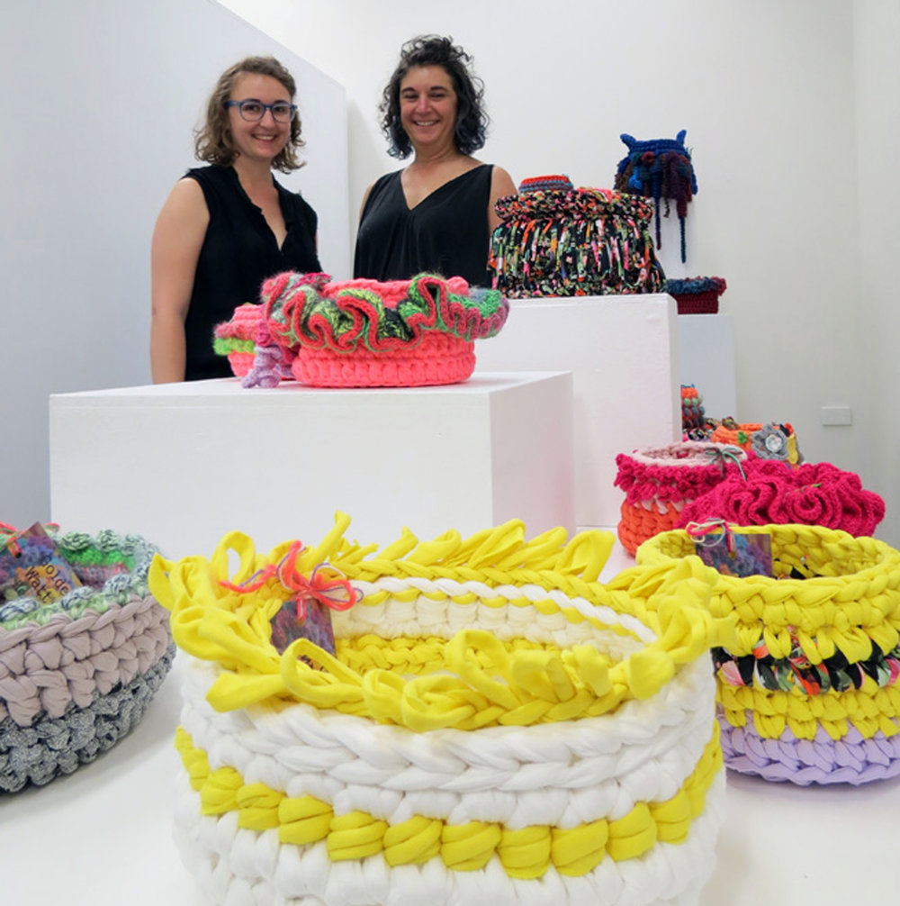 Holly and Jill O'Meehan 'Golden Wattle Hookers', crochet installation