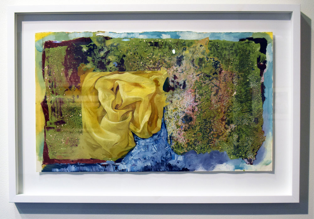 22. Ben Joel, 'Gold Fold', 2007-17, oil on prepared paper mounted on panel, $2,225