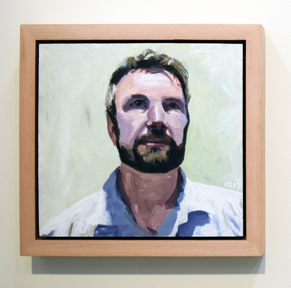 17. Alastair Taylor, 'Portrait of Russell', 2017, acrylic on board, $380