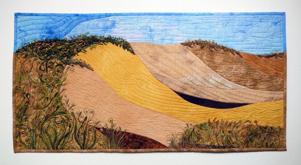 Elizabeth Humphreys, Eroding Dunes Date,  2014, hand embroidery, hand-dyed fabrics, $550