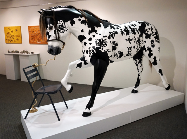 7. Matt McVeigh,  A Horse on Course,  in collaboration with Professor Juli Coffin, fibreglass, horse hair, paint, vinyl and photographs, 163 x 230 x 70 cm, $6,850