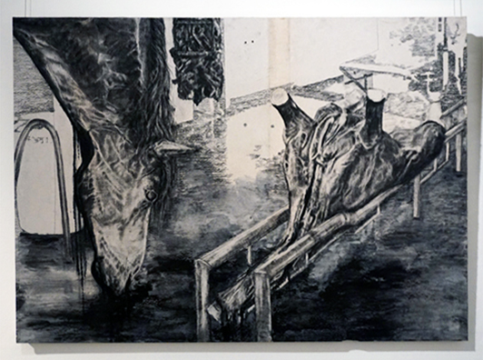 14. Anna Louise Richardson,  Abattoir I, c harcoal and ink on cement fibreboard, 70 x 100 cm, $1,750