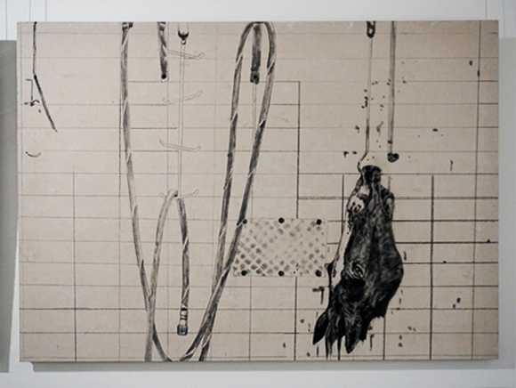 15. Anna Louise Richardson,  Abattoir II, c harcoal and ink on cement fibreboard, 70 x 100 cm, $1,750