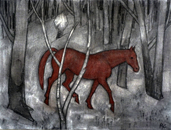 16. Madeleine Clear,  Horsechase - a True Story, c harcoal and soft pastel on canvas boards, 12 drawings, each 23 x 30.5 cm, $2,400 set - 2