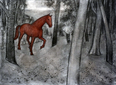 16. Madeleine Clear,  Horsechase - a True Story, c harcoal and soft pastel on canvas boards, 12 drawings, each 23 x 30.5 cm, $2,400 set - 1