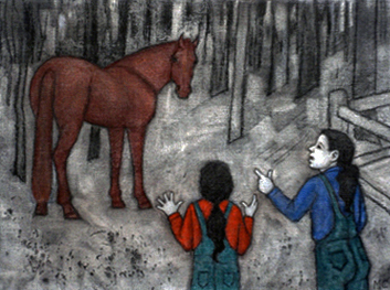 16. Madeleine Clear,  Horsechase - a True Story, c harcoal and soft pastel on canvas boards, 12 drawings, each 23 x 30.5 cm, $2,400 set - 4