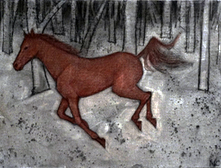 16. Madeleine Clear,  Horsechase - a True Story, c harcoal and soft pastel on canvas boards, 12 drawings, each 23 x 30.5 cm, $2,400 set - 5