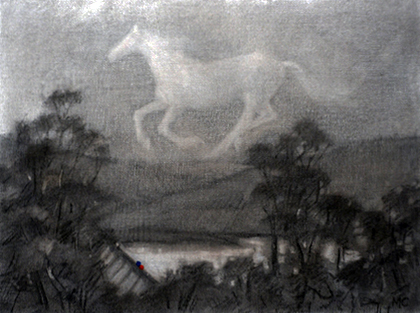 16. Madeleine Clear,  Horsechase - a True Story, c harcoal and soft pastel on canvas boards, 12 drawings, each 23 x 30.5 cm, $2,400 set - 12