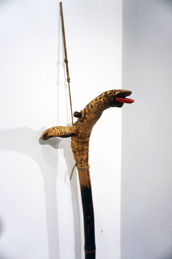 19. Theo Koning,  Hobby Horse,  bamboo, leather thong, wood, paint, 110 x 27 x 26 cm, $1,200 - detail