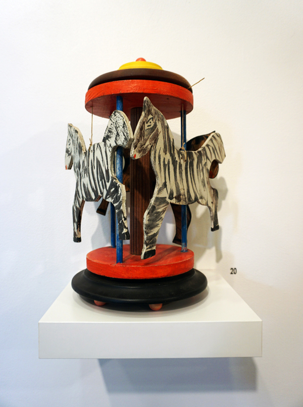20. Theo Koning,  Merry-Go-Round,  wood, paint, metal, string, 40 x 23 x 23 cm, $900
