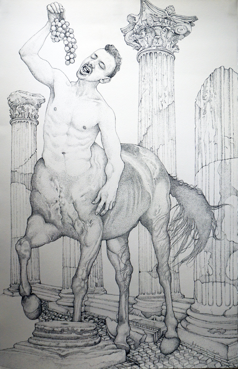 2. Andrew Nicholls,  Centaur,  2015-17, archival ink pen on watercolour paper, 105 x 67 cm, $2,200