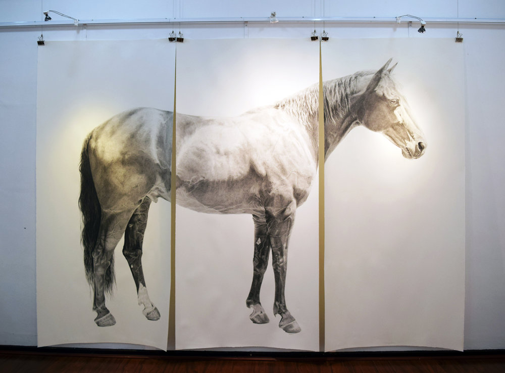 10. Ross Potter, Catching Thunder, graphite on paper, 2017, 325 x 230 cm, $15,000