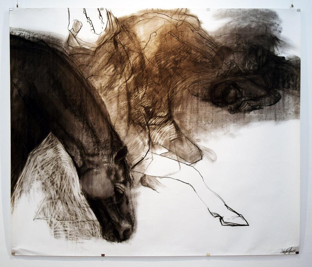 16. Linda van der Merwe, Visionary Horse Seraphic, charcoal on acid free paper, 1995, 148 x 181 cm, $800