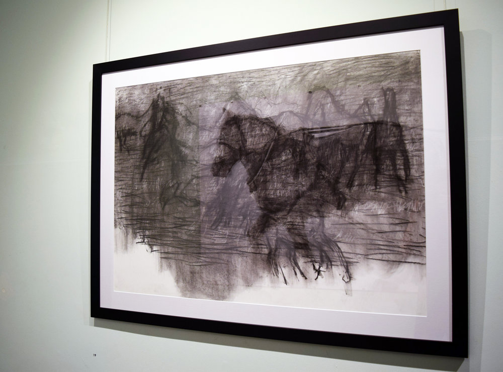 19. Angela Stewart, Equine 1915 - IV, charcoal on paper, 2014, 77 x 108 cm, $800