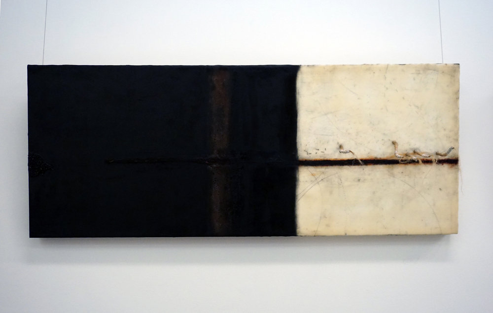 2. Marisa Tindall, Language of stillness , 2017, wax, ground marri charcoal, sticks and  string on ply, $750