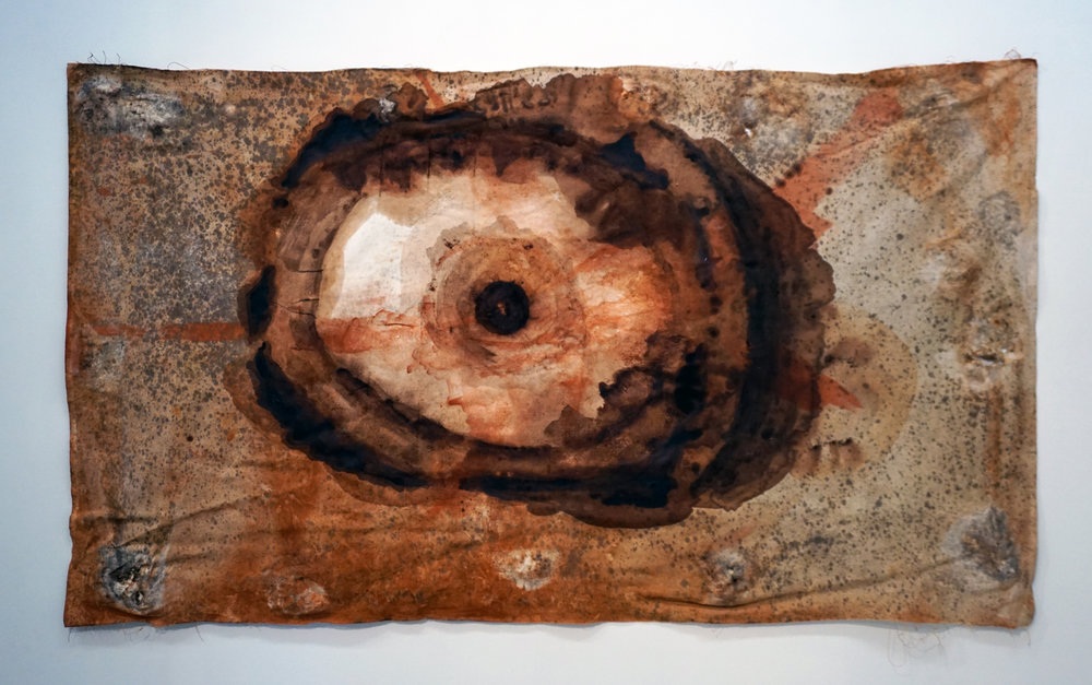 17. Marisa Tindall,  Earth Material,  2017, nine-month aged canvas left in natural   environment and resin, POA