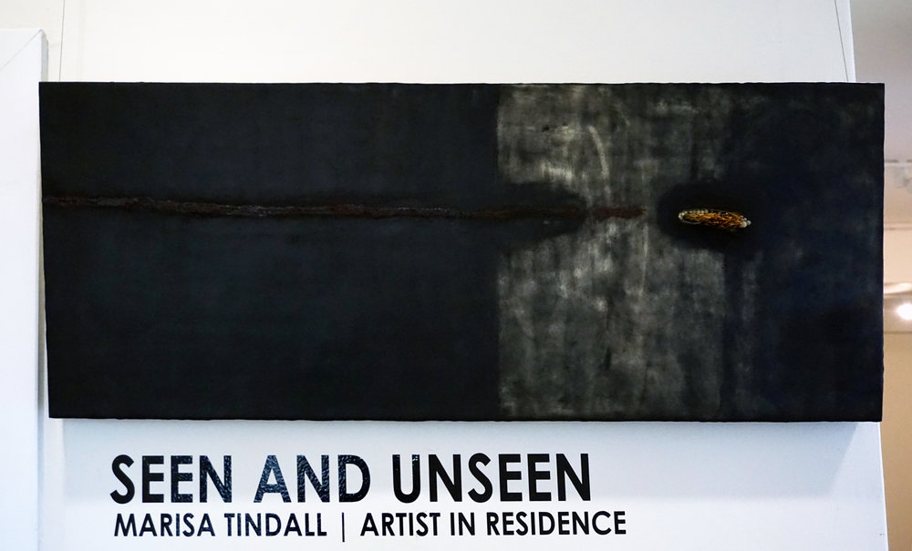 1. Marisa Tindall, Genesis , 2017, wax, ground marri charcoal, resin and grass on ply, $750