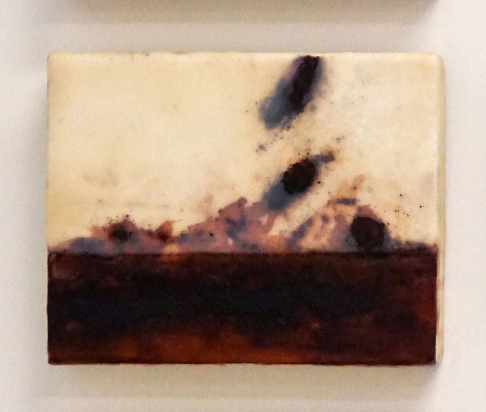 8. Marisa Tindall, Nature Unearthed 1 , 2017, wax, ground marri charcoal, resin on ply, $190