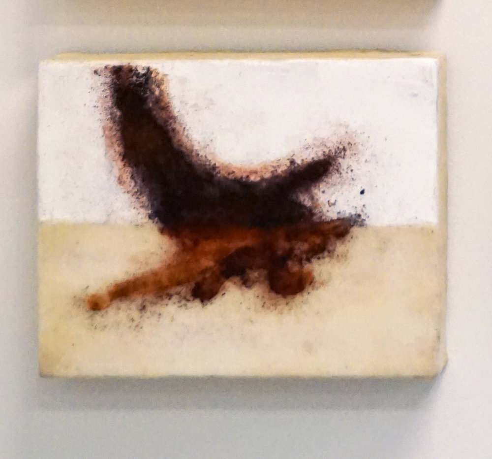 9. Marisa Tindall, Nature Unearthed 2 , 2017, wax, ground marri charcoal, resin on ply, $190