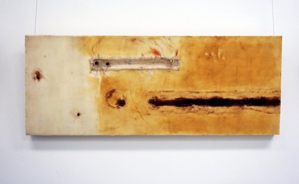 3. Marisa Tindall, Gestalt nature of landscape , 2017, wax, resin, grass, ochre and gauze on ply, $750