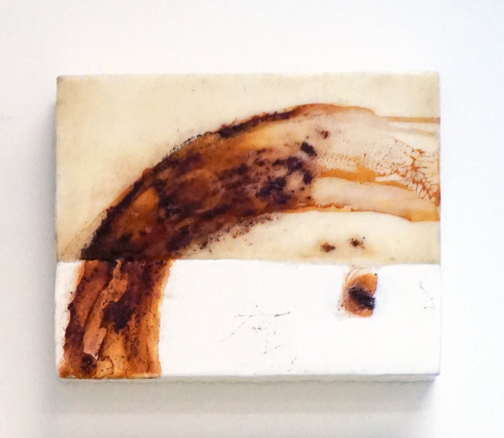10. Marisa Tindall, Nature Unearthed 3 , 2017, wax, ground marri charcoal, resin on ply, $190
