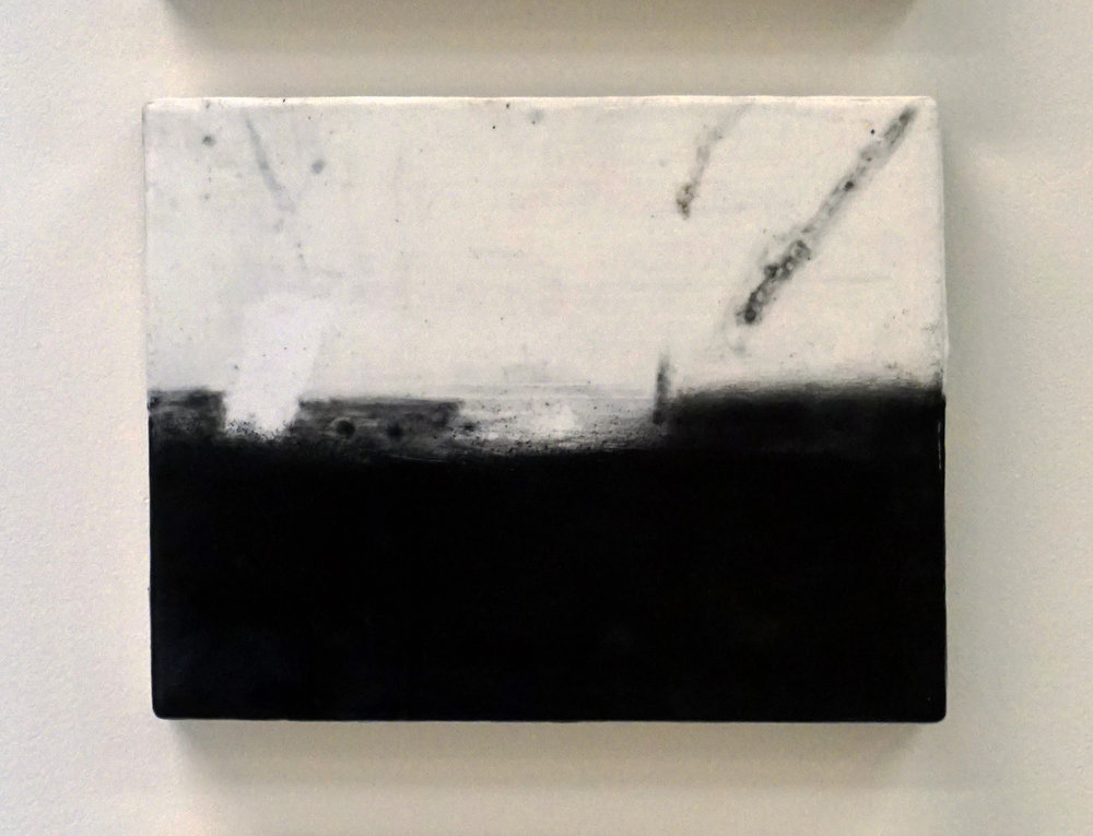 15. Marisa Tindall,  The point at which something begins 2 , 2016, wax and ground marri charcoal on ply, $245